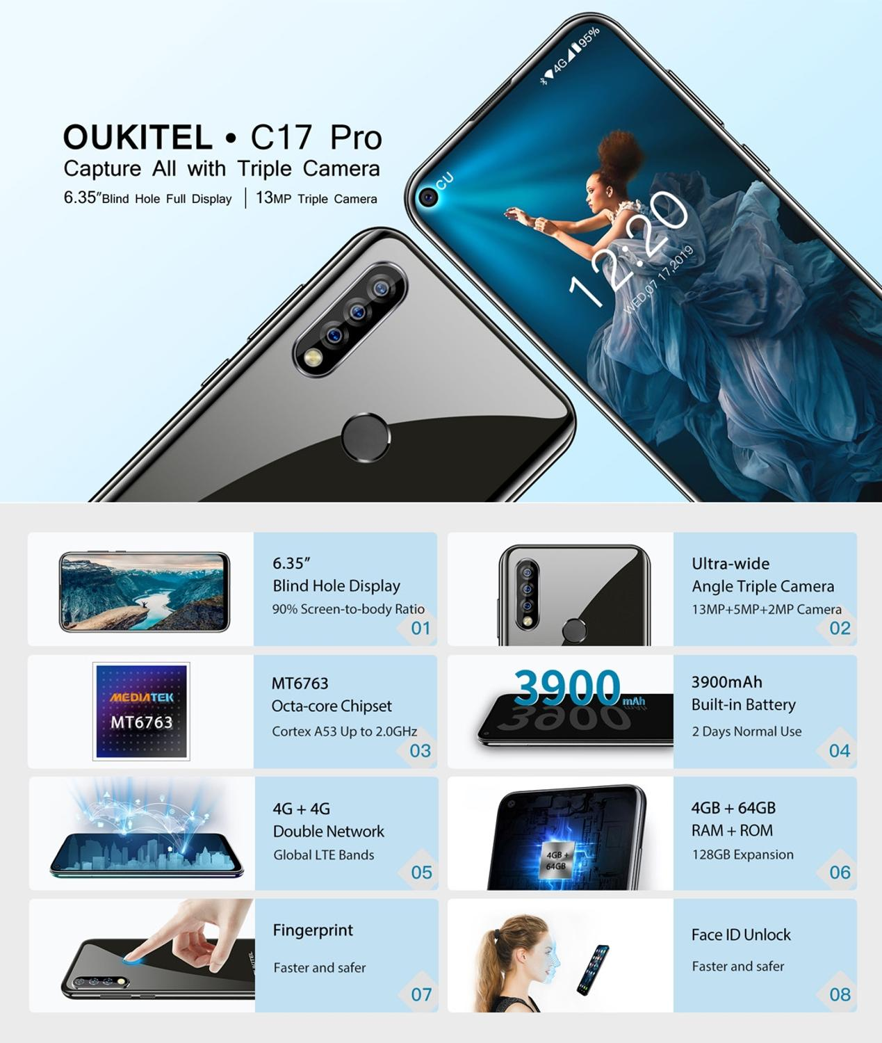 "Image 2 - Oukitel C17 Pro Android 9.0 Pie Smartphone Face ID 6.35"" Pole notch Screen 4GB RAM 64GB ROM MT6763 Octa Core 4G Mobile Phone-in Cellphones from Cellphones & Telecommunications"