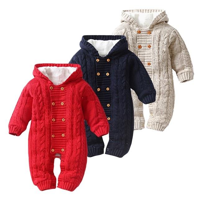 Baby Romper Winter Hooded Corghet Pasgeboren Effen Peuter Baby Jongens Meisjes Hooded Romper Jumpsuit Verdikte Breien Outfit