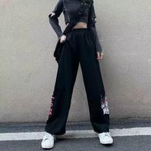 Hip hop calças dos desenhos animados y2k mulheres verão carga 2021 bonito lápis harajuku de grandes dimensões moda feminina alta rua calças
