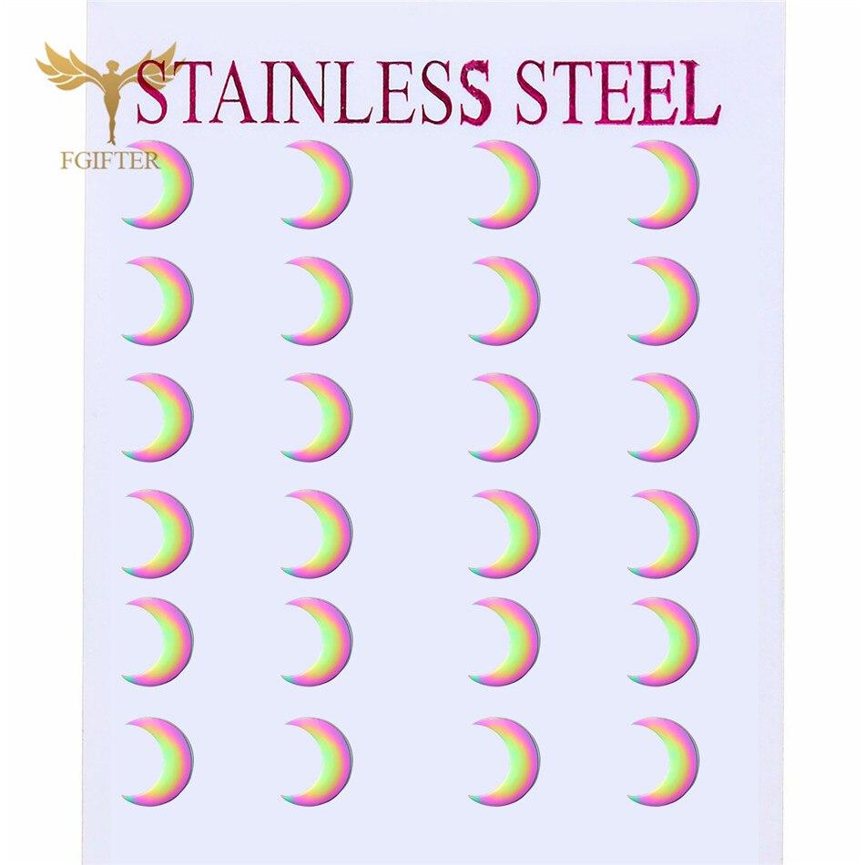 Красочные серьги «Радуга» 12 пар в стиле Луны минималистичные серьги-гвоздики дешевые ювелирные изделия из нержавеющей стали оптом