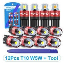 Светодиодный боковая лампа NAO T10 W5W 5W5, светильник для салона автомобиля, 3030 SMD, чип WY5W 12 В 24 В, дверной ствол, купол, карта, очистка, инструмент д...
