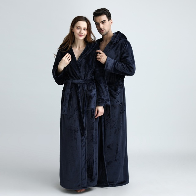 Unisex Extra Long Hooded Flannel Bathrobe 5