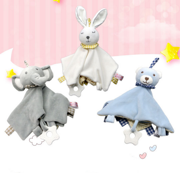 Soothing Baby Towel Baby Toys Cartoon Bunny Bear Plush Doll Soft Security Blanket Sleep Friend Stuffed Toy Baby Crib Rattles 03L