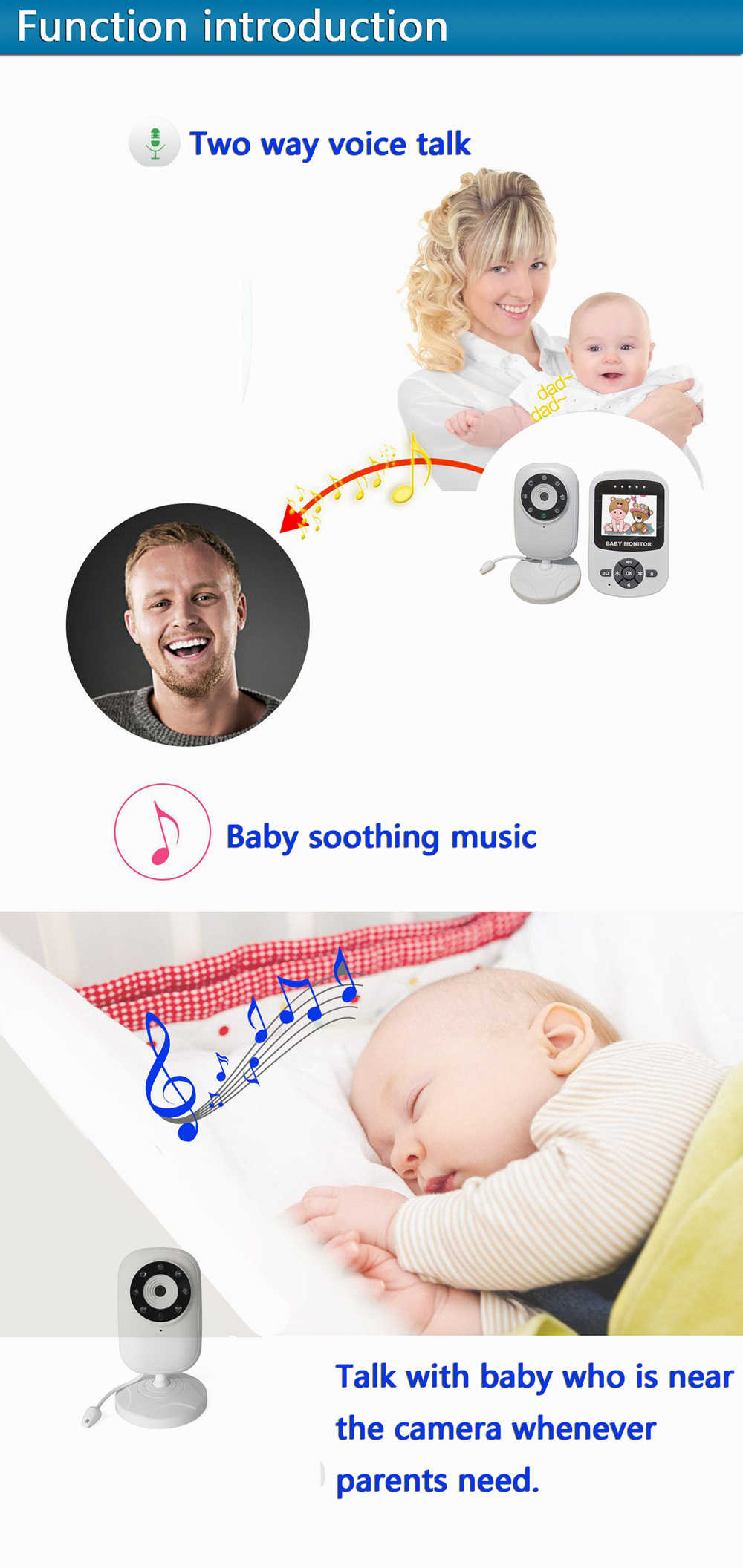 2.4 Polegada LCD Monitor Do Bebê de Áudio e Vídeo Sem Fio Babá Rádio Música 24h Câmera Do Bebê Portátil Walkie Talkie Intercom Babá