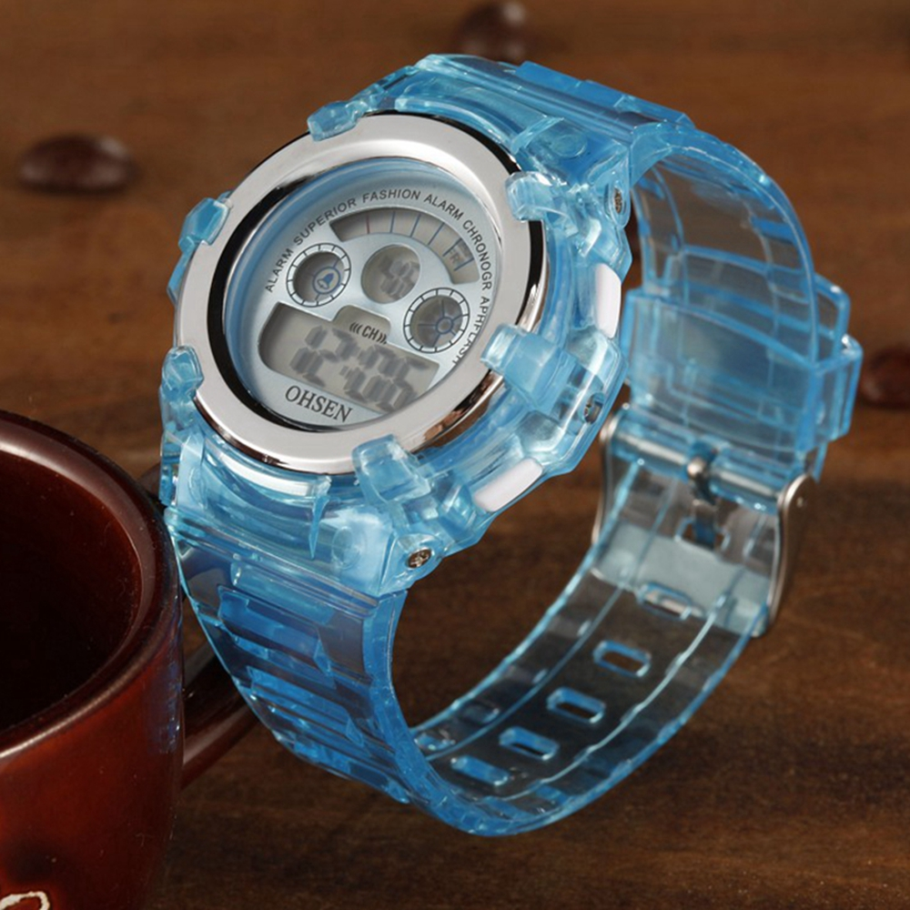 Digital Kids Watches Children LED Fashion Sport Waterproof Watch Cute Blue Silicone Girl Boys Wrist Watch 7 Colors Led Baby Gift