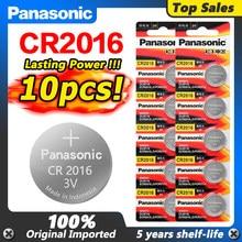 10pc original panasonic button bateria cr2016 relógios 3 v bateria. controle de brinquedo carro bateria frete grátis adequado suporta relógio