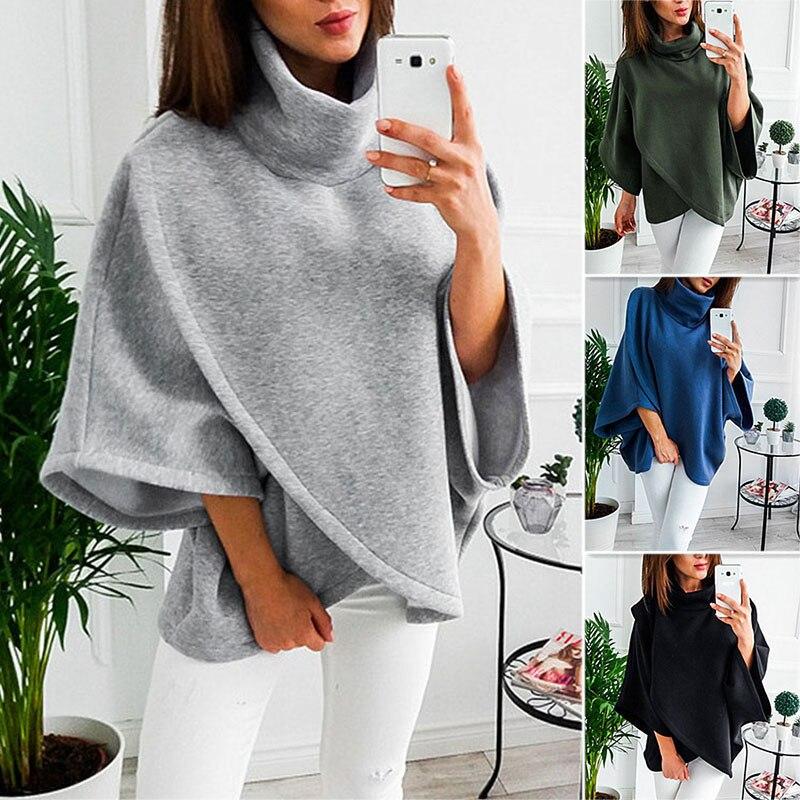 Women Loose Bat Sleeve Shawl Sweater Winter Warm Coat Jacket Cloak Cape Outwear HSJ88