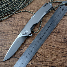 Folding Knife Blade Flipper Edc-Tools Titanium-Handle Hunting-Pocket Outdoor Twosun Satin