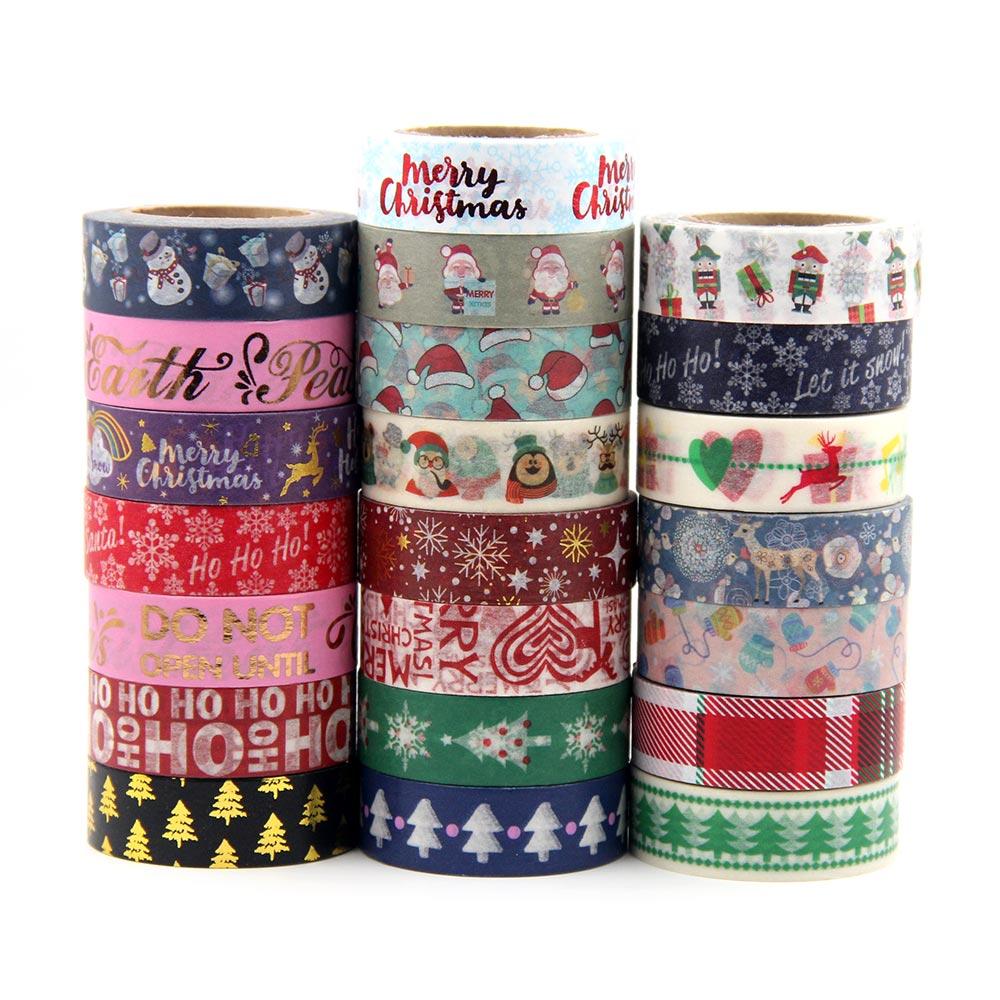 1X Japanese Rice Paper Printing Masking Tape Merry Christmas Tree Washi Tape
