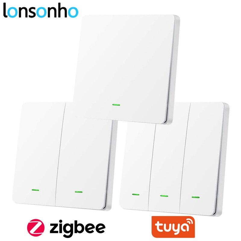 Lonsonho Tuya Zigbee Smart Switch Wifi EU UK Push Button Wall Light Switch No Neutral wireless 220V Alexa Google Home Compatible
