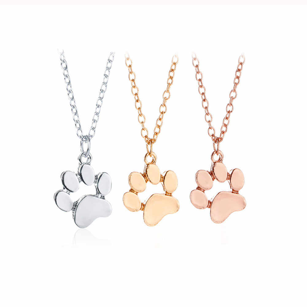 European Popular Dog Footprint Necklace Multiple Colour Animal Pendant Necklace Jewelry Pendant  For Women Elegant Sweet Style