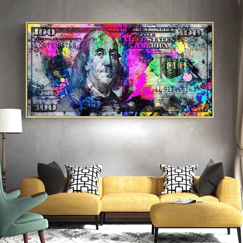 Inspirador colorido 100 dólar bill pintura em tela cartazes e impressões cuadros arte da parede fotos para sala de estar decoração casa