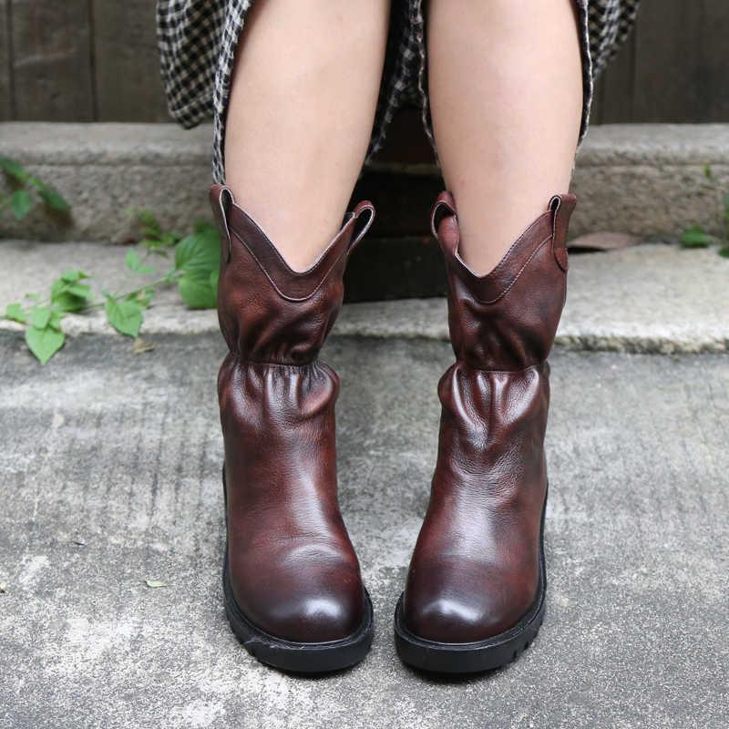 Orijinal hakiki deri el yapımı kadın çizmeler Retro yuvarlak ayak orta buzağı çizmeler nasıl topuklu rahat Slip-on inek derisi botları