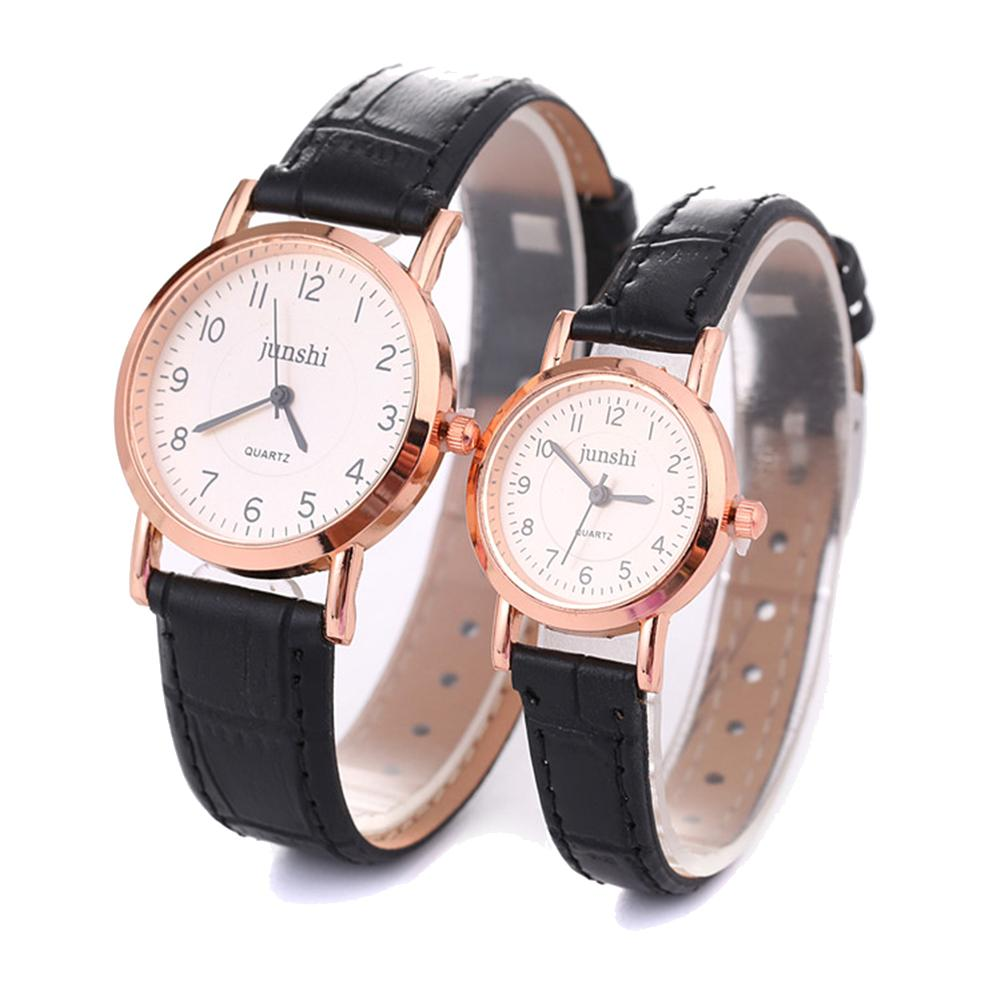Arabic Number Analog Round Dial Faux Leather Band Couple Quartz Wrist Watch New Fashion Watch For Lovers Christmas Gifts