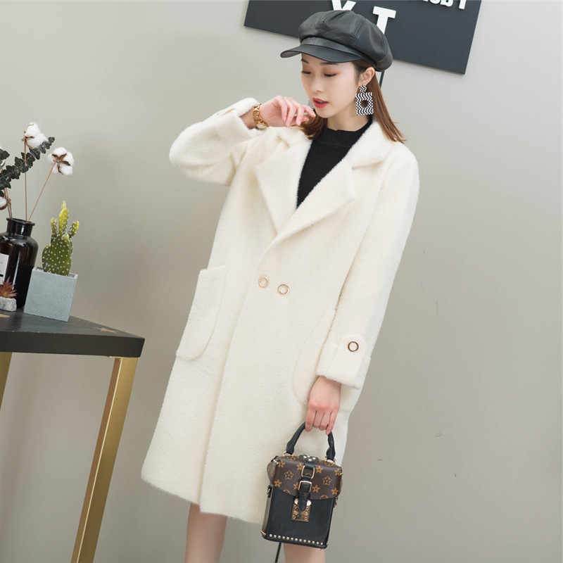 Solid Color Simple And Elegant Imitation Mink Wool Coat-Style Elegant Faux Mink Cashmere Coat Mid-length Thick Sweater