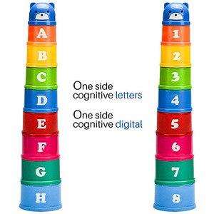 Image 2 - 8Pcs Educatief Baby Speelgoed 6 Maand Cijfers Letters Foldind Stack Cup Toren Kinderen Vroege Intelligentie Alfabet Speelgoed Voor Kinderen