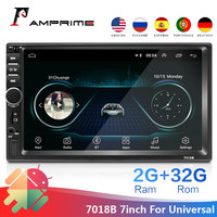 AMPrime 2 din Car Multimedia Player 7 Android 7018B Autoradio GPS Navigation Bluetooth Stereo Mirrorlink WiFi FM Radio Camera