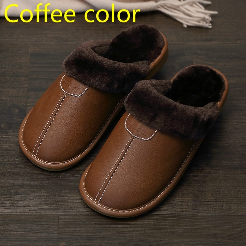 Men Slippers Black New Winter PU Leather Slippers Warm Indoor Slipper Waterproof Home House Shoes Women Warm Leather Slippers 6