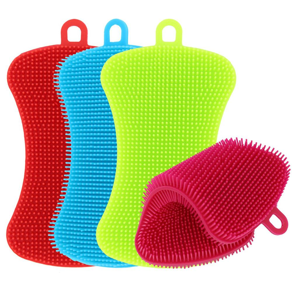1pc Kitchen Cleaning Brush Silicone Dishwashing Brush Pot Pan Sponge Scrubber Fruit Vegetable Dish Washing Cleaning Brushes