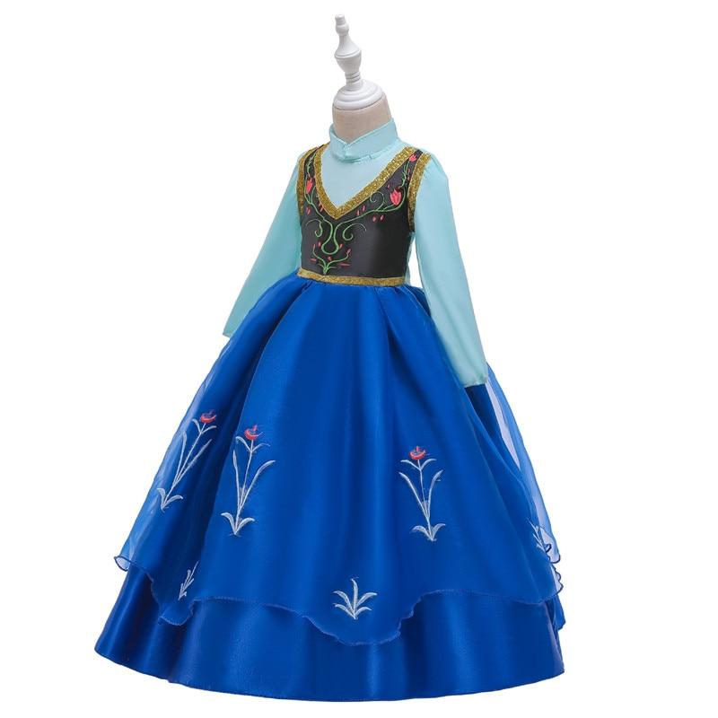 He4bcd074f24f4726b232c9b2195c40fdD Send crown Baby Girls Dress Christmas Anna Elsa Cosplay Costume Summer Girl Princess Dress for Birthday Party Vestidos Menina