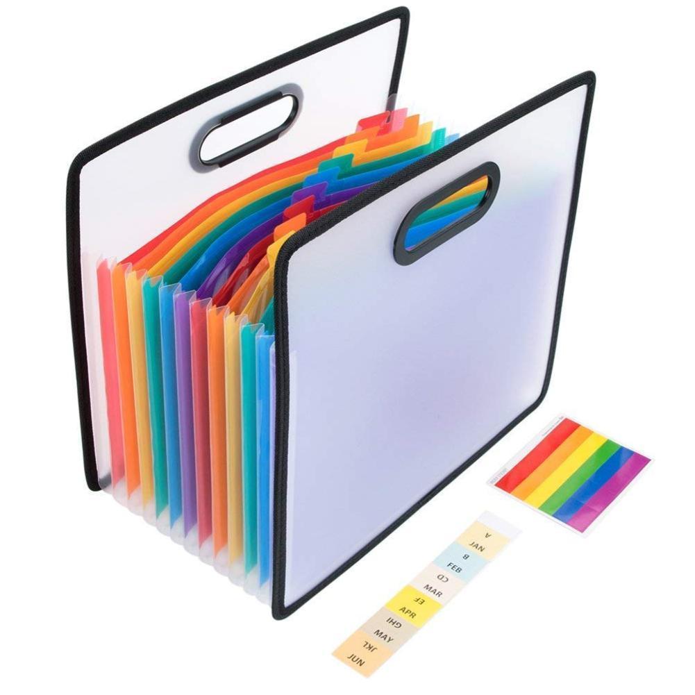 1piece Rainbow Color Portable Organ Bag Expansion Folder Portable Storage Bag Receipt Filing Office Cabinet A4 File Station P7A3