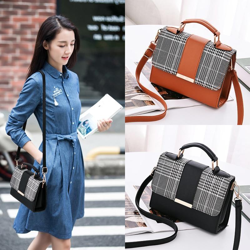 Luxury handbags women small square bags designer korean mini simple messenger bags vintage shoulder bag crossbody bag leather in Top Handle Bags from Luggage Bags