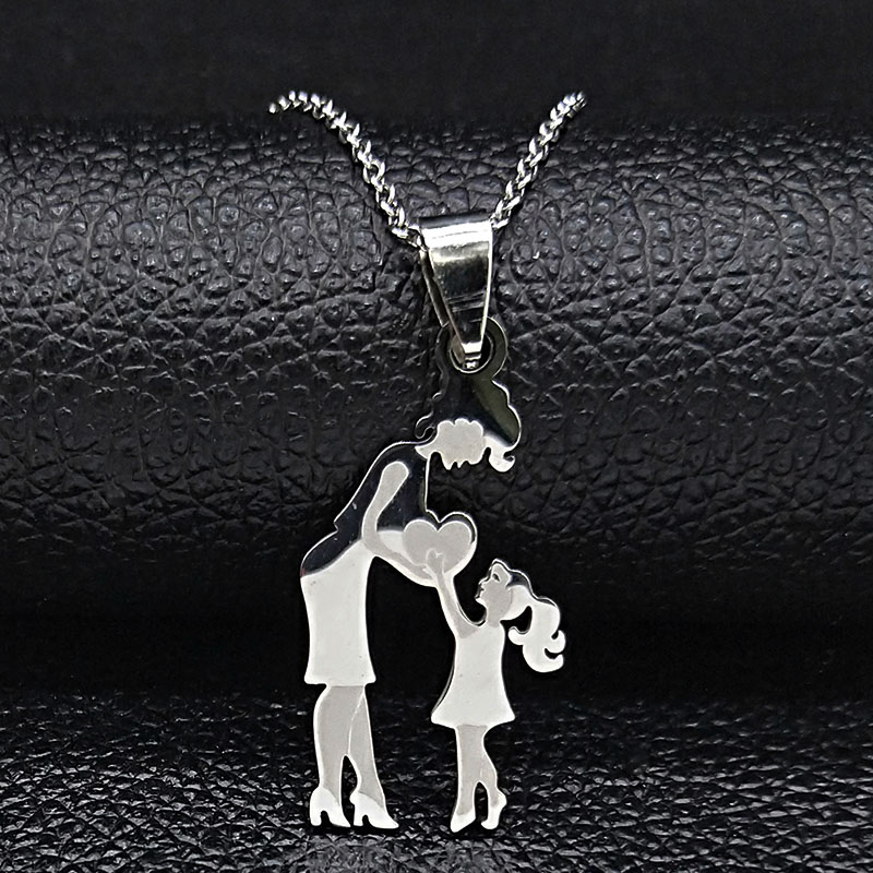 Mom Daughter Stainless Steel Chain Necklace Silver Color Necklaces Pendants Jewelry mujer Mother's Day Christmas Gift N539S01