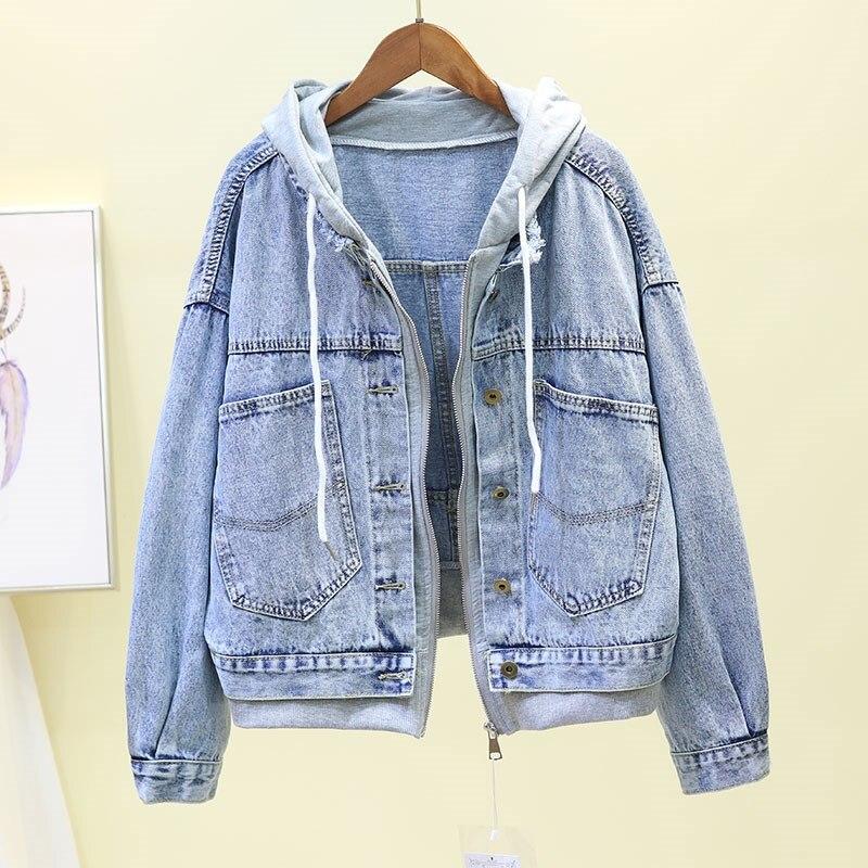 2019 Vintage Harajuku Loose Denim   Jacket   Autumn Long Sleeve Hooded Jeans   Jacket   Ladies Casual   Basic     Jacket