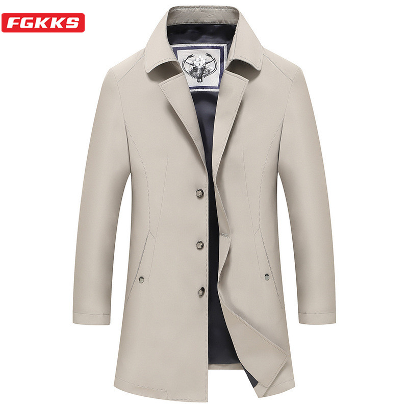 FGKKS Casual Brand Men Solid Trench Coats New Men's Mid-Length Thin Trench Turn-Down Collar Business Slim Trench Male