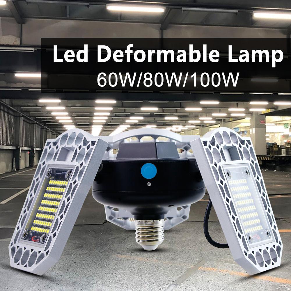 60W 80W 100W E26 Led Garage Lamp UFO Deformable Lamp 220V Industrial Light E27 Led High Bay Light Parking Warehouse Bulb 110V