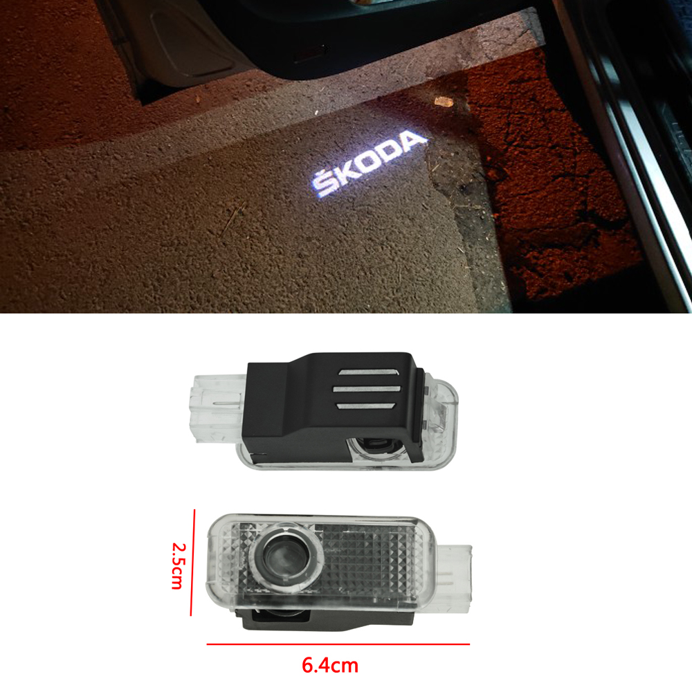 2x Led Car Logo Emblem Laser Projector Lamp Ghost Shadow Welcome Light Door For Skoda Superb Old Octavia Febia Roomster