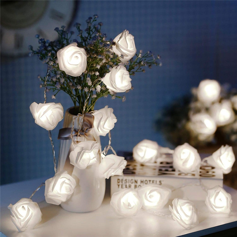1M/2M/3M LED Garland Artificial Flower Bouquet String Lights Foam Rose Fairy Lights For Valentine's Day Wedding Decoration