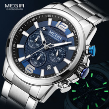 Luxury Watches Chronograph Luminous-Wristwatch Stainless-Steel Top-Brand Waterproof Sports