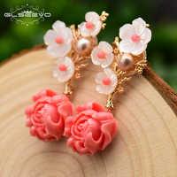 GLSEEVO réel 925 argent Sterling rose corail boucles d'oreilles goutte blanc perle rose pierre naturelle coquille fleur balancent boucles d'oreilles GE0024