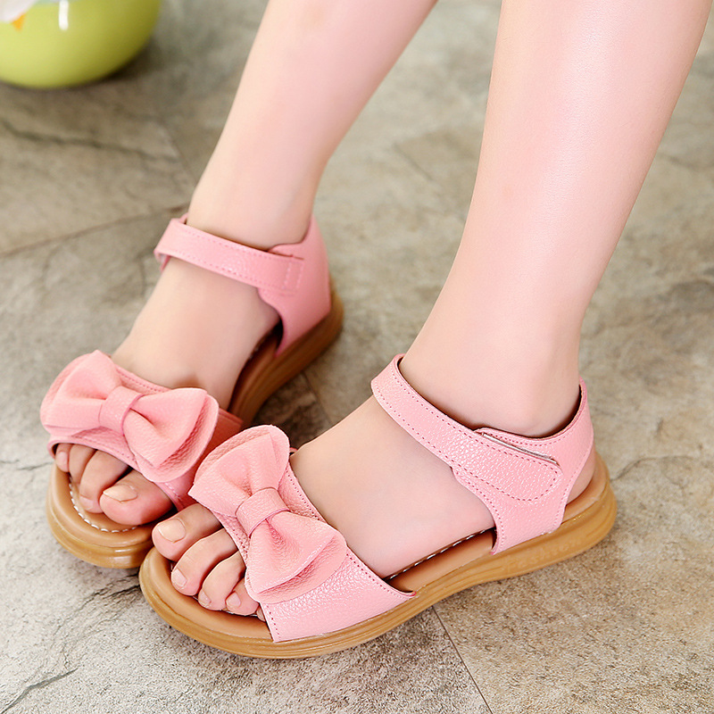 Girls Sandals 2020 New Summer Children Pu Leather Beach Shoes For Baby Girls Princess Fish Mouth Sandals Kids Sandals Eu 26-37