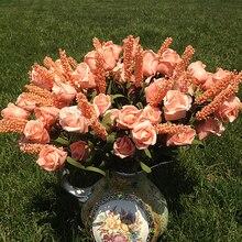 Свадебные 9 цветы лаванды розы искусственные шелковые цветы декоративное украшение в виде гортензии