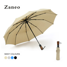 Tri-Fold Foldable Automatic Solid Color 10K Men And Women Umbrella Sun Wood Company Business
