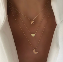 European and American new golden pendant clavicle chain creative retro simple star moon love necklace