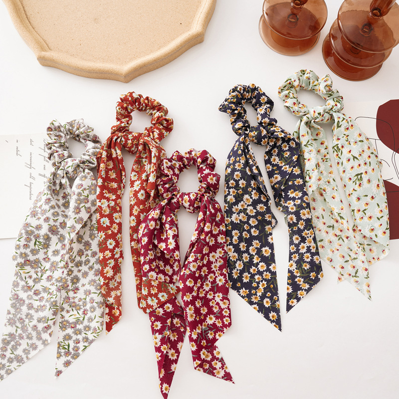 Floral Print Hair Scarf Bow Scrunchies Ponytail Long Streamers Women Elastic Hair Rope Rubber Bands Hair Ties Hair Accessories