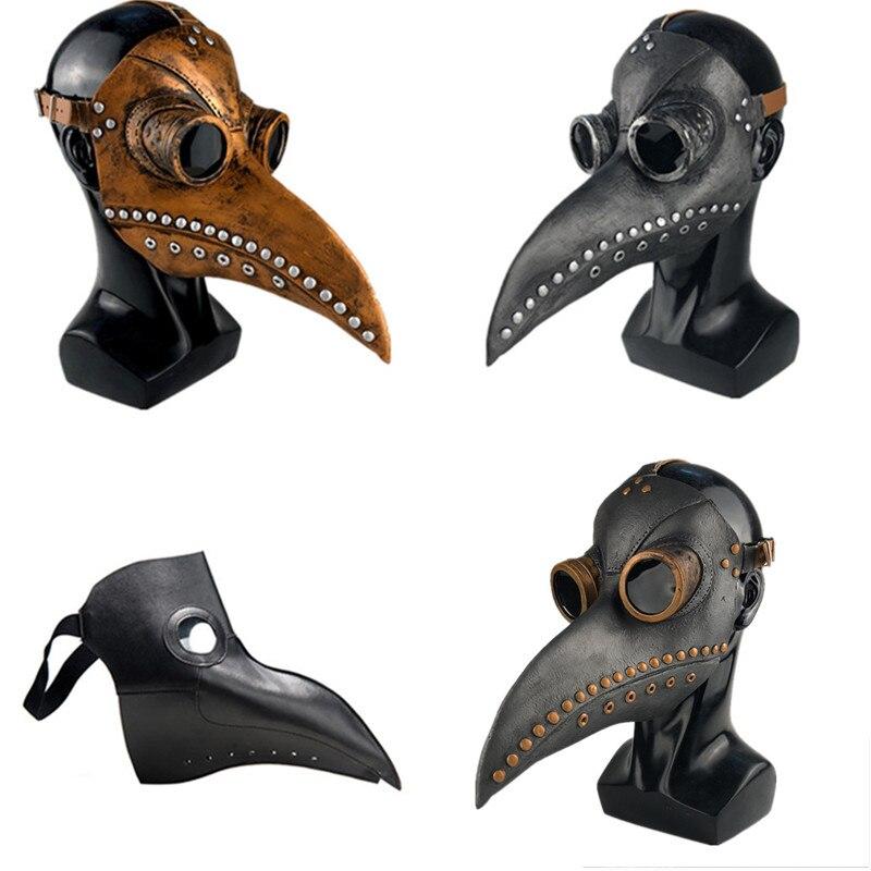 Bird Beak Plague Doctor Cosplay Mask Latex Black Long Nose Masks Gothic Retro Steampunk Halloween Party Props New