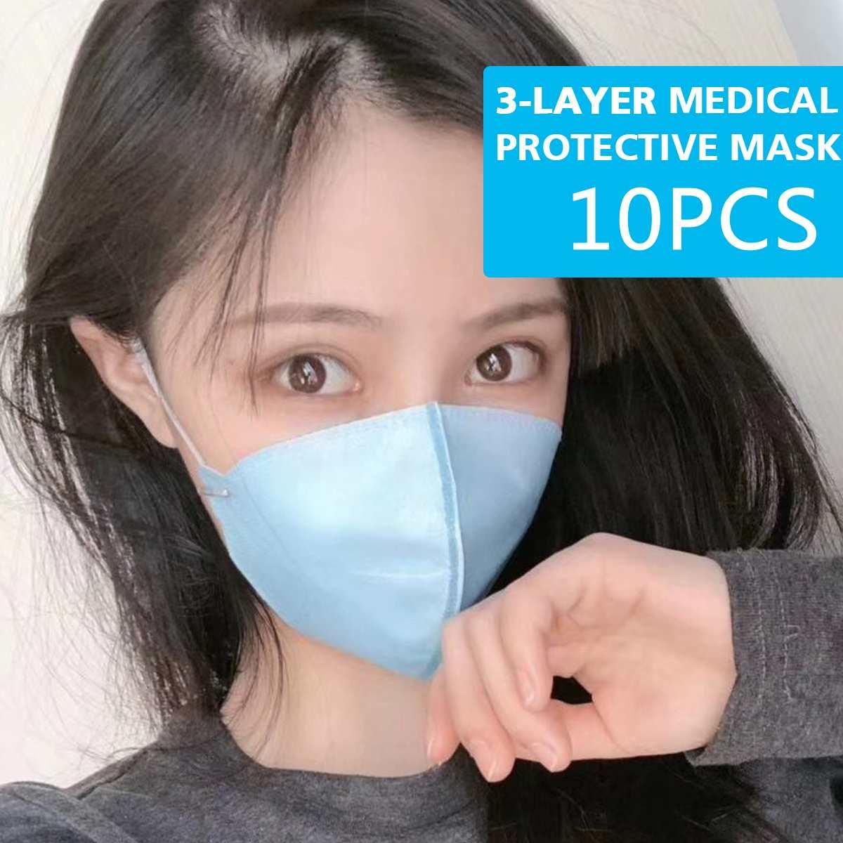 Image 2 - 10pcs Surgical Mask Face Mask Medical Masks 3 Ply Nonwoven PM2.5  Anti Virus Flu Hygiene Face Mouth Disposable Masks