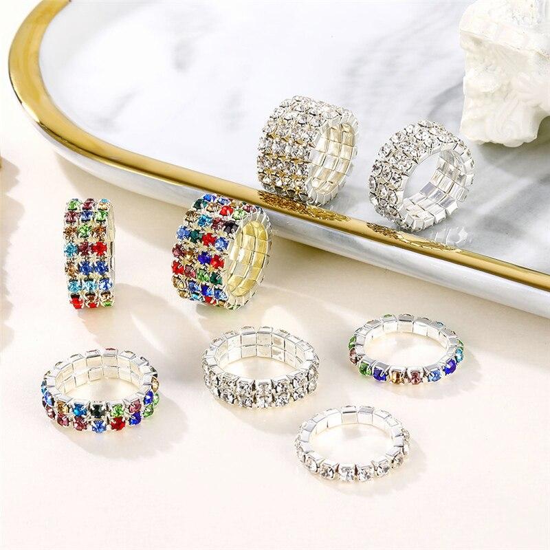 2020 Модные посеребренные эластичные кольца для женщин, блестящие многоцветные Кристальные Стразы, кольца для невесты, свадебные ювелирные и...