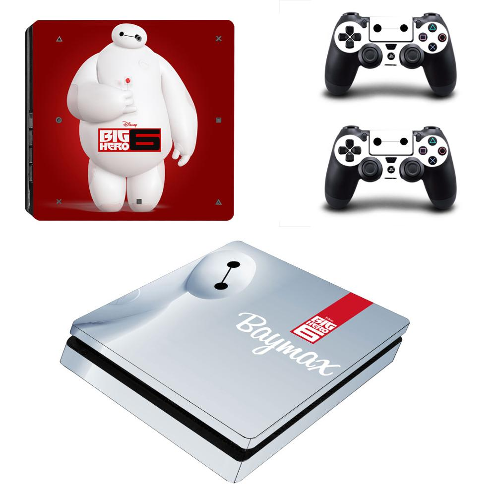 PS4 Slim Big Hero 6 Stickers PS 4 Play station 4 Slim Vinyl Skin Sticker Decals For PlayStation 4 Slim console and controller image