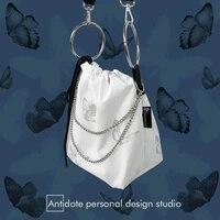 Niche-Bolso cruzado Diablo con diseño de mariposa, bandolera reflectante circular, cadena cruzada, con cordón, bolsa blanca Punk