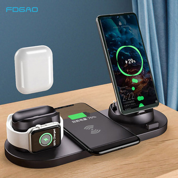 10W Fast Qi Wireless Charger 6 IN 1 For Apple Watch 6 5 4 AirPods iPhone 11 Pro XS XR X Samsung S20 S10E Note 10 Xiaomi Mi 10 9