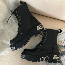 Bottines à plateforme de Style Punk pour femmes, chaussures de moto à la mode pour dames, épaisses, décor en métal, noir, grande taille 41 43 44