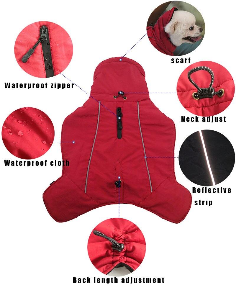 Зимние комбинезоны для собак, теплые Светоотражающие пальто для собак, лыжная куртка, водонепроницаемая одежда для собак, функциональный дизайн для S средних и больших собак-5