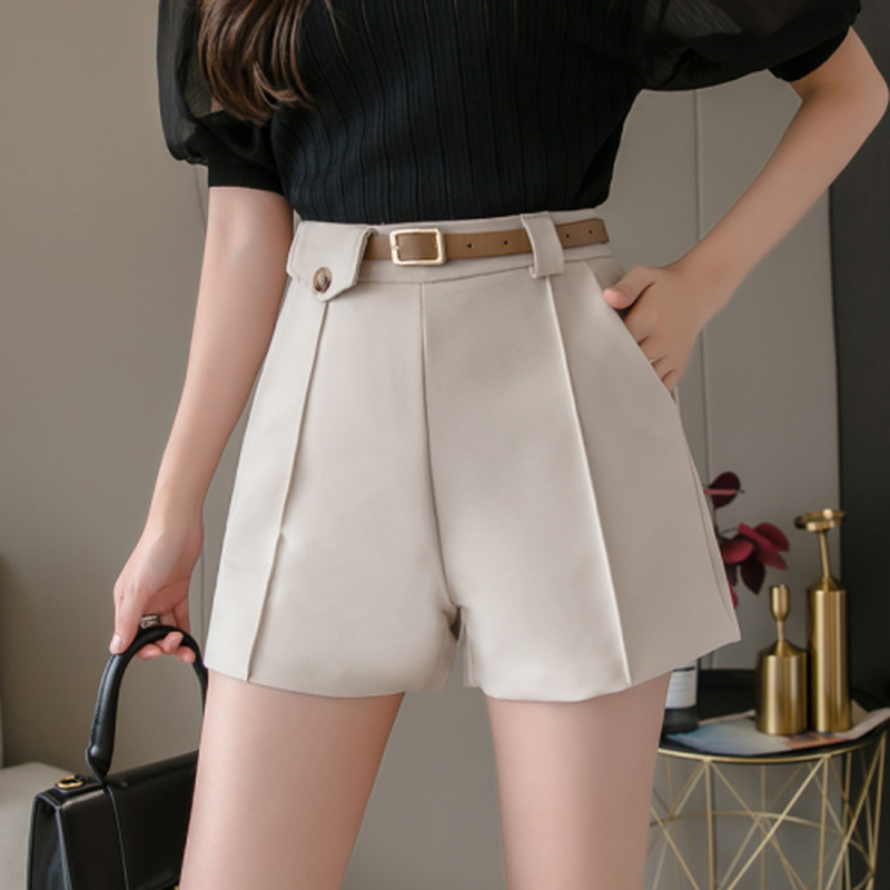 OLOME 2020 Spring And Summer New Women's Office Lady Shorts With Sashes Fashion High Waist Wide Leg Shorts Female Bottoms Women