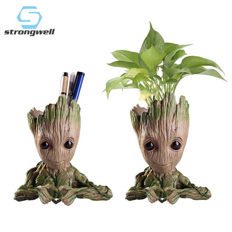 Baby Groot Flowerpot Flower Pot Planter Figurines Tree Man Cute Model Pen Pot Accessories Garden Planter Flower Pot Kids Gift