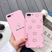 цена на For Iphone 7 8 Plus 6s Cute Cartoon Cat Pattern Phone Case For IPhone X XS 7 8 Plus 6 6S Soft Silicone Pink Cover Case